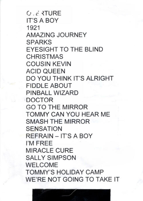 Roger Daltrey - Tommy Set List - 2011 UK
