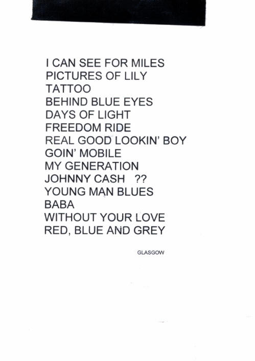 Roger Daltrey - Glasgow <Encore> Set List - July 6, 2011 UK