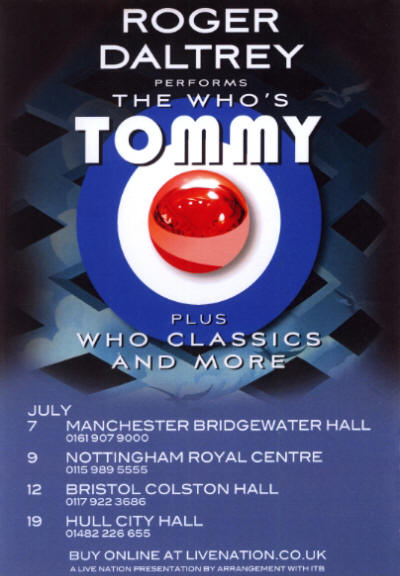 Roger Daltrey - Tommy -UK Dates - July 7 -19, 2011 UK Flyer