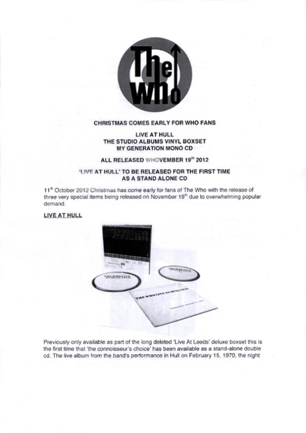 The Who - Whovember - 2012 UK Press Kit