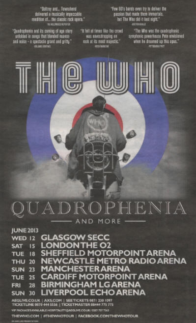 The Who - Quadrophenia & More - June, 2013 UK