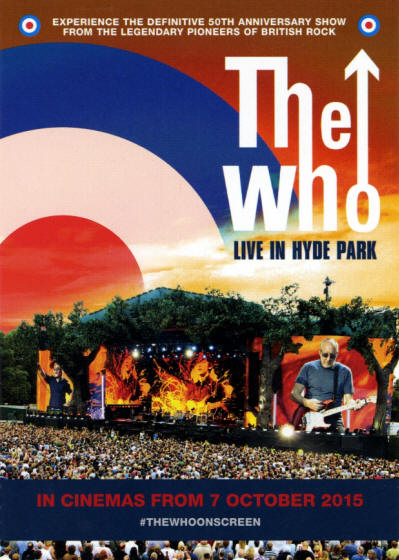 The Who - Live In Hyde Park - 2015 UK Postcard