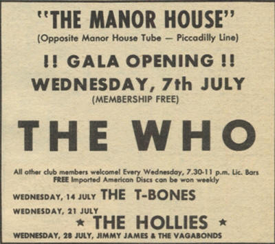 The Who - The Manor House - July 7, 1965 UK