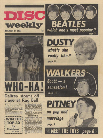 The Who - UK - Disc Weekly - November 27, 1965