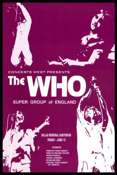 The Who - Dallas Memorial, Texas - June 19, 1970 - USA (Reproduction)