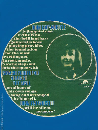 John Entwistle - Smash Your Head Against The Wall - 1971 Holland