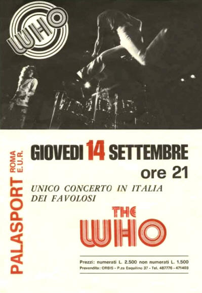The Who - Rome Palasport - 1972 UK Flyer
