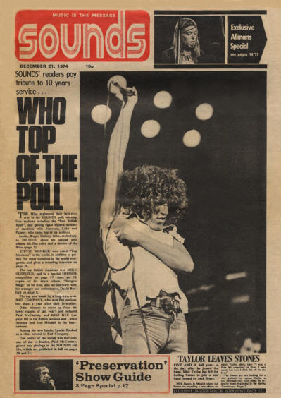 The Who - UK - Sounds - December 21, 1974