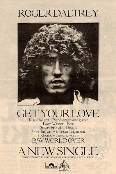 Roger Daltrey - Get Your Love - 1975 UK