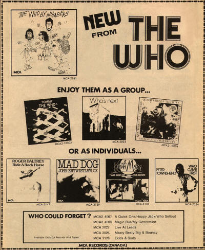 The Who - New From The Who - 1975 Canada