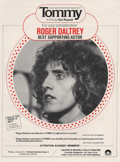 Roger Daltrey - Best Supporting Actor - 1975 USA