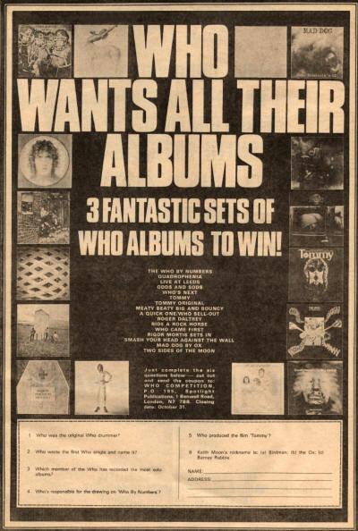 The Who - Who Wants All Their Albums - 1975 UK