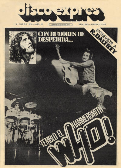 The Who - Spain - Disco Expres - January 16, 1976