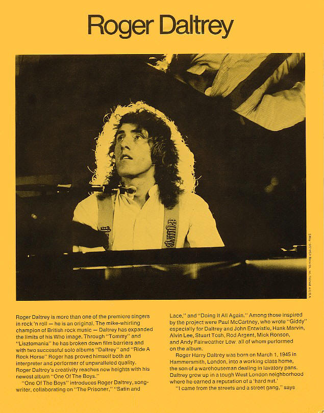 Roger Daltrey - One Of The Boys - 1977 USA Press Kit