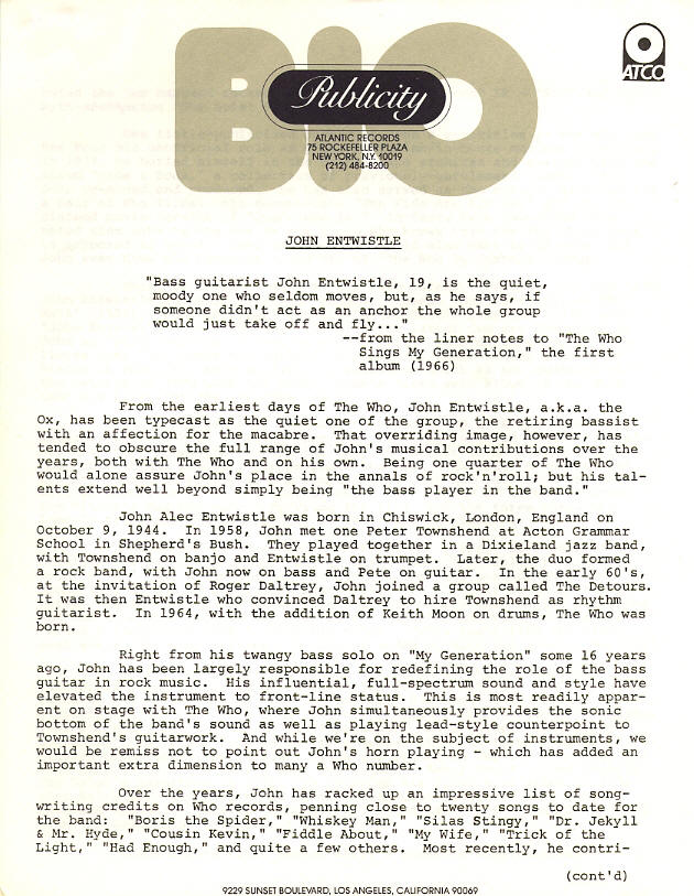 John Entwistle - Too Late The Hero Press Kit - 1981 USA