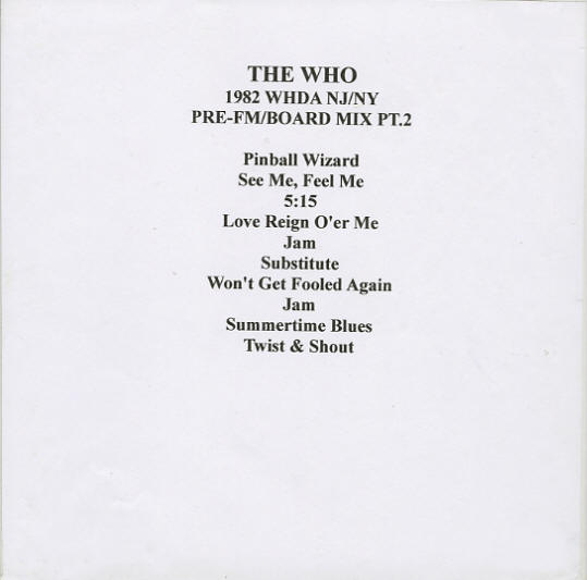 The Who - Brendan Byrne Arena - East Rutherford, NJ - October 10, 1982 - Pre-FM Radio Station Reels