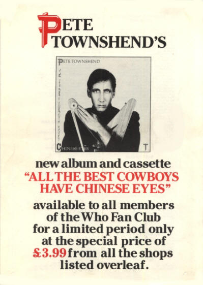 Pete Townshend - All The Best Cowboys Have Chinese Eyes - 1982 UK Fan Club