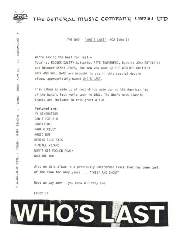 The Who - Who's Last - 1984 Israel Press Kit & Promomotional LP