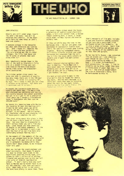 The Who - UK - The Who Newsletter #29 - Summer, 1986