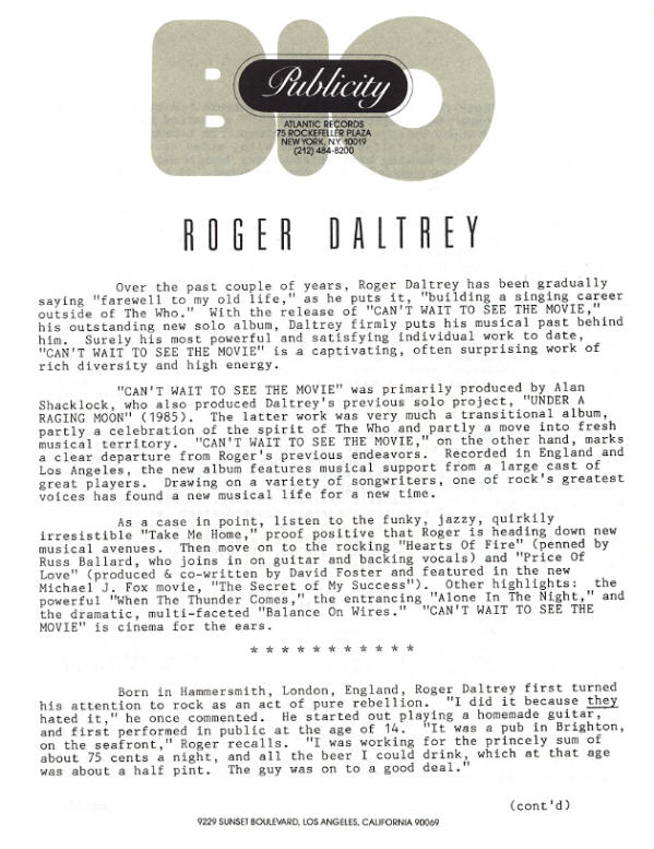 Roger Daltrey - Can't Wait To See The Movie - 1987 USA Press Kit