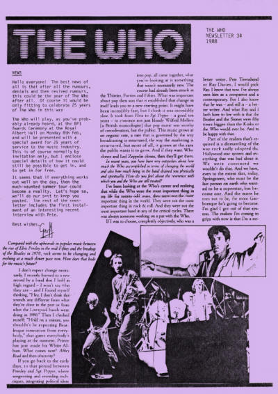 The Who - UK - The Who Newsletter #34 - Summer, 1988