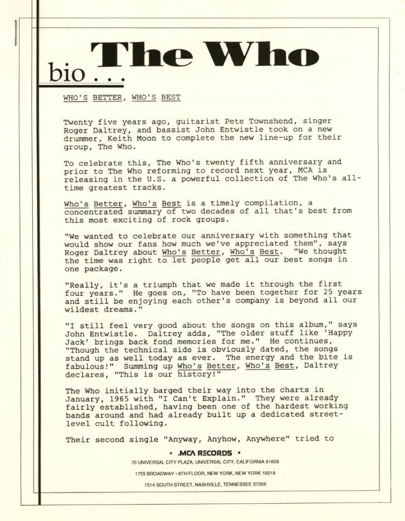 The Who - Who's Better, Who's Best - 1988 USA Press Kit