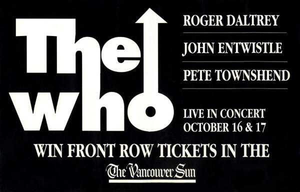 The Who - GM Place Vancouver - October 16 & 17th, 1996 Canada (Promo)