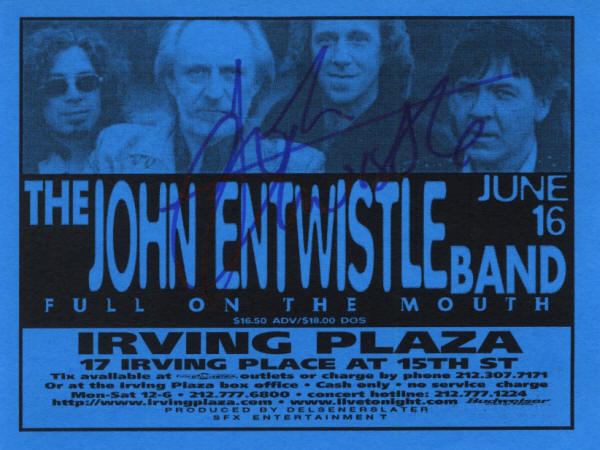 John Entwistle - Irving Plaza, NY - June 16, 1998 USA Flyer (Autographed by John Entwistle)