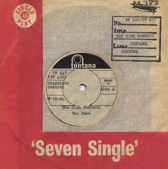 "I'm The Face/Zoot Suit - South Africa - 1964 Fontana 7"" Acetate (front)"