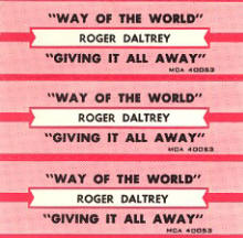 Roger Daltrey - Giving It All Away/Way Of The World - Juke Box Strips - 1973 USA