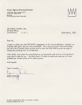 Letter from the King's Agency cancelling a show in Swindon