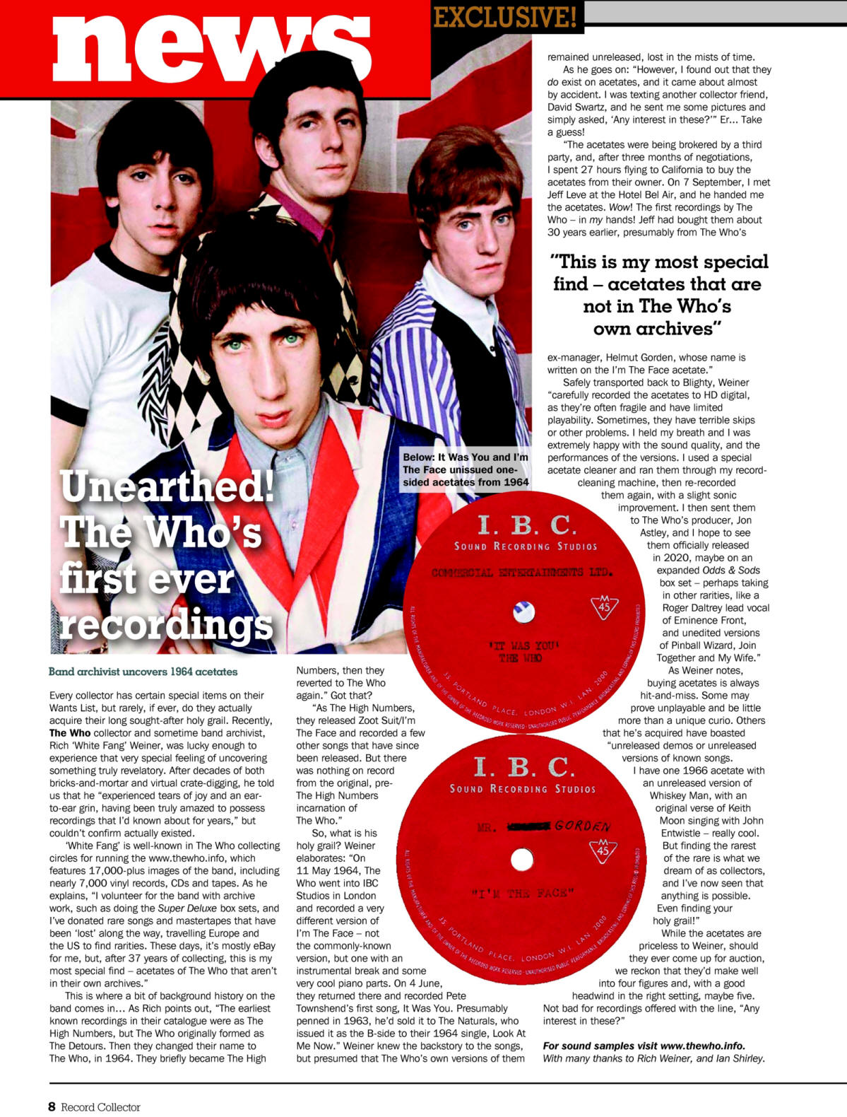 The Who - Record Collector Magazine - December, 2019